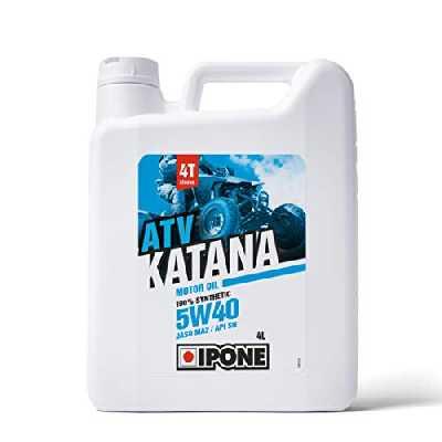 Ipone 800164 Huile Quad 4 Temps 5W40 Katana ATV-Lubrifiant 100% Synthétique à Base Esters-Haute Performance – Lubrification Optimale du Moteur Corrosion et Anti Oxydation-Bidon 4 litres, 4L